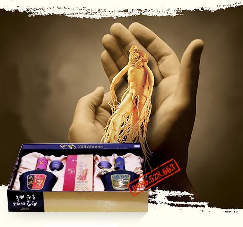 Bộ quà biếu cao câp: Hồng sâm,trà sâm, tinh chất sâm núi
